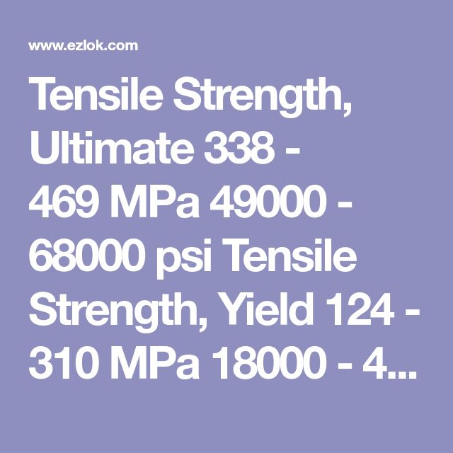 Tensile Strength, Ultimate 338 - 469 MPa 49000 - 68000 psi Tensile Strength, Yield 124 - 310 MPa 18000 - 45000 psi Depending on temper Elongation at Break 53% 53% in 457.2 mm Modulus of Elasticity 97 GPa 14100 ksi Bulk Modulus 140  GPa 20300 ksi Typical for Steel Poisson's Ratio 0.31 0.31 Calculated Machinability 100% 100%  UNS C36000 (free-cutting brass) = 100% Shear Modulus 37 GPa 5370 ksi