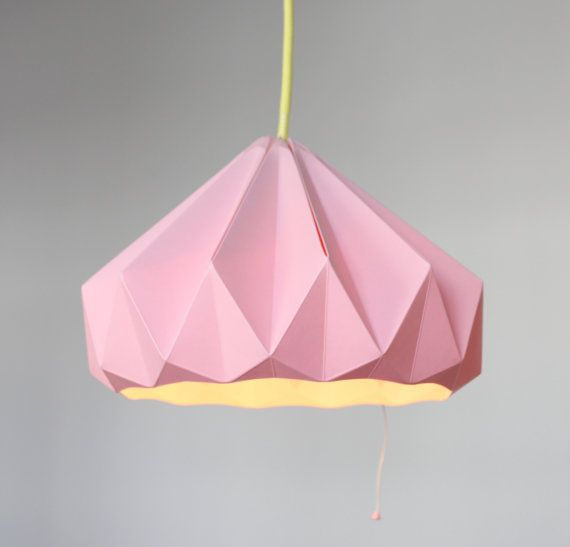 Origami pink lampshade by Snowpuppe via Design Sponge