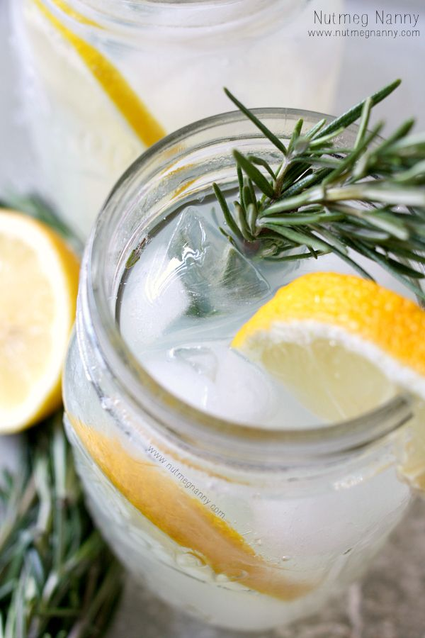 Sparkling Honey Rosemary Lemonade by nutmegnanny #Lemonade #Honey #Rosemary #Sparkling