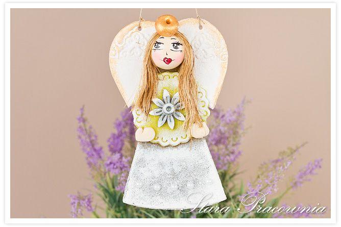 Aniołek z masy solnej , salt dough angels www.starapracownia.pl