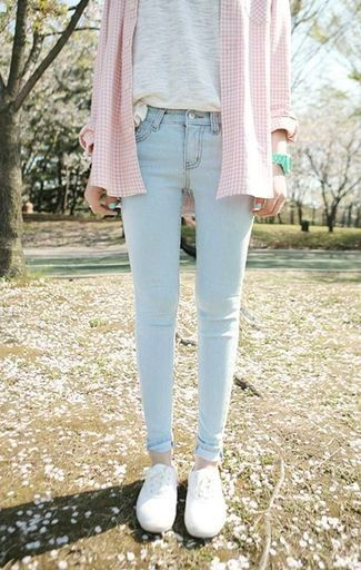 Women's Pink Plaid Dress Shirt, Grey Crew-neck T-shirt, Mint Watch, Light Blue Skinny Jeans, and White Low Top Sneakers