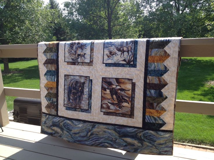 Wildlife quilt with shadows