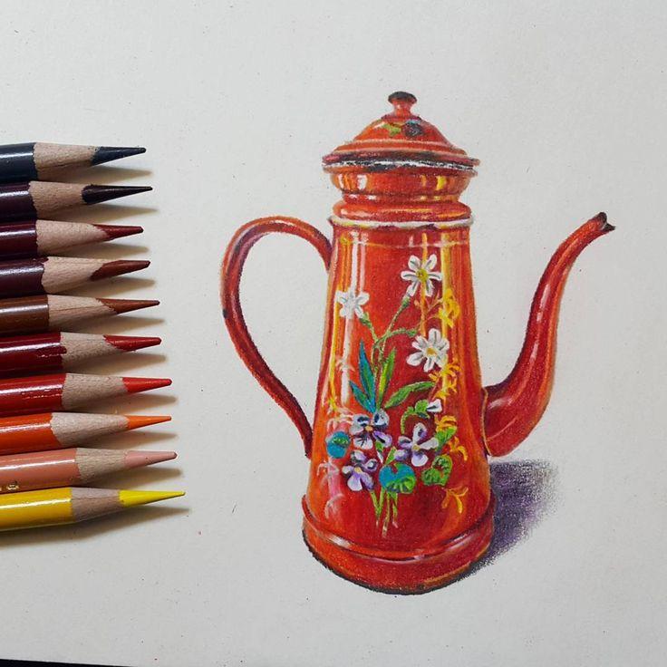"""좋아요 43개, 댓글 6개 - Instagram의 Youyeong.Seo(@blibla_art)님: """". #teapot 2. . . #red #impressive #주전자 #colors #coloredpencils #colorpencils #색연필 #색연필드로잉 #색연필화…"""""""