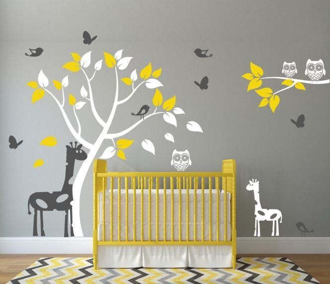 Nursery Wall Decal With Giraffes Tree Birds Erflies And Owls