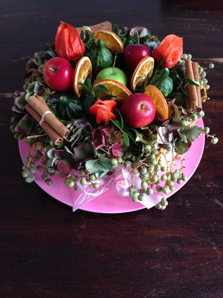 Herfsttaart met vruchten. Gemaakt op de workshop bij De Lindenhorst