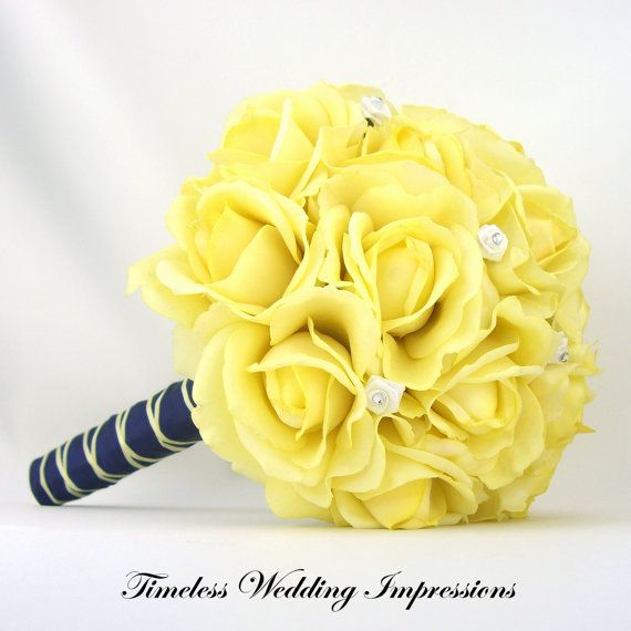 Yellow Wedding Bouquet Bridal Roses Navy Blue Real Touch Silk Wedding Flowers Swarovski Crystals