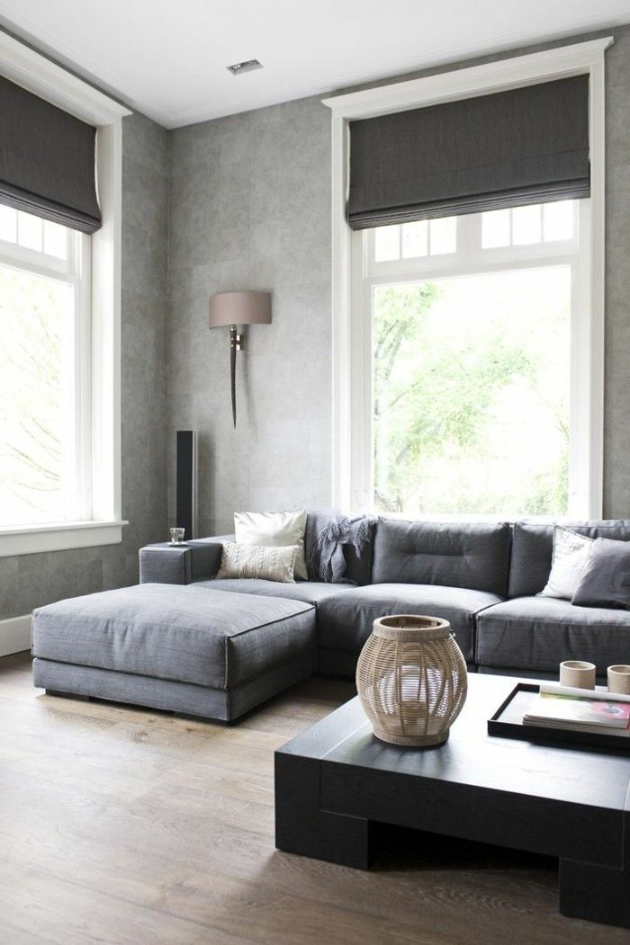 wohnzimmer einrichten graues sofa. Black Bedroom Furniture Sets. Home Design Ideas