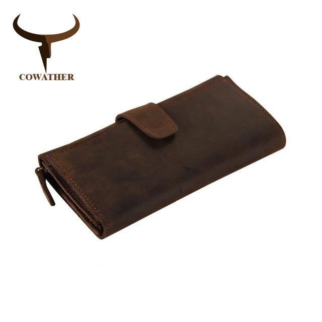 COWATHER genuine cow leather long mens alligator wallet for men vintage good male purseMulti-card holding bag with 21 cards
