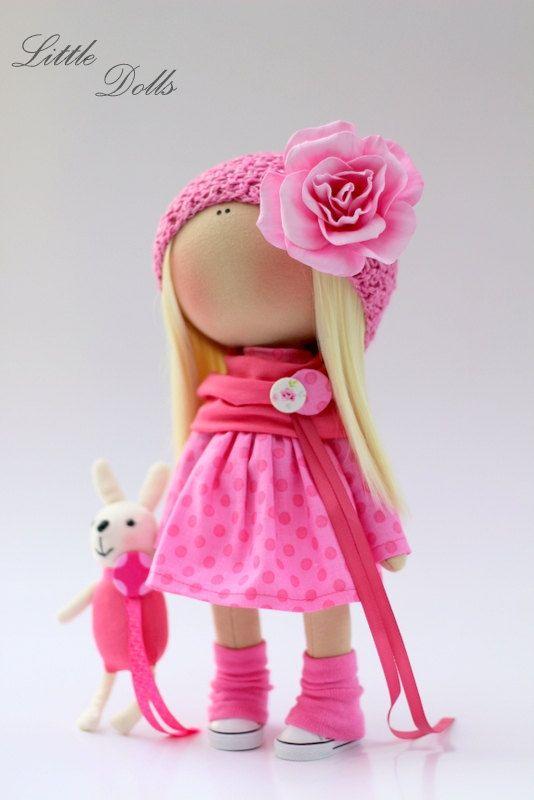 Pink rose doll Fabric doll Tilda doll di AnnKirillartPlace su Etsy