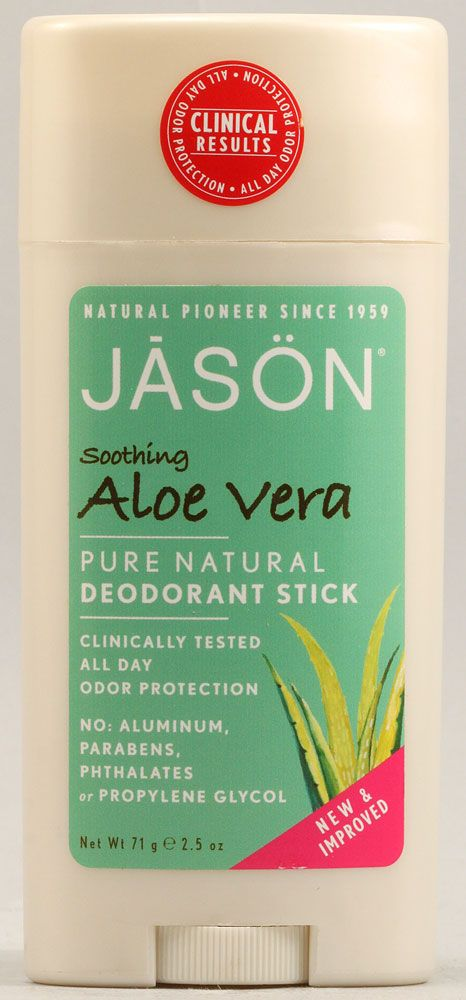 Jason Deodorant Stick Pure Natural Aloe Vera. Another great natural deodorant with a nice clean scent!  Deodorants are one of the most important beauty products to purchase organically. Serious links to breast cancer.
