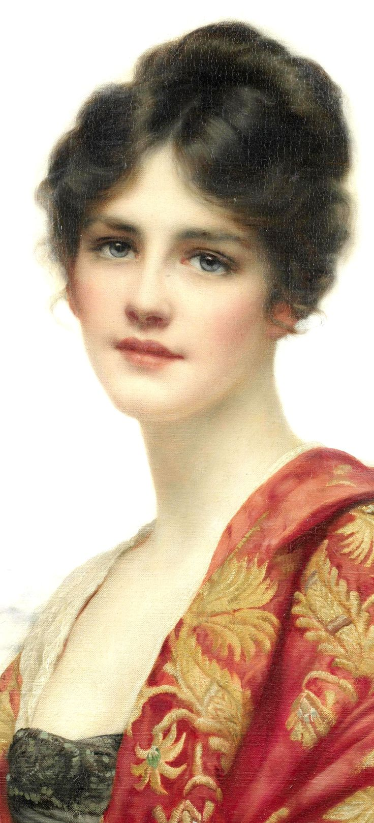 """Artist William Clarke Wontner, this portrait is """"Esme"""".  Wontner was a painter who was part of the neo-classical movement in England. His style favored seductively languorous women.    His work was exhibited at the Royal Academy from 1879, at the Society of British Artists and at the Royal Institute of Painters in Water Colors."""