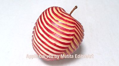 Quick Easy Simple Art In Fruit And Vegetable Carving Videos Lessons By Mutita: Apple Carving | Zebra Pattern Design