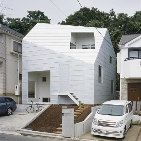 HOUSE WITH GARDENS by TETSUKO KONDO . solid . void . white . japan . architecture . japanese . small . house . space: