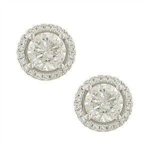 4 prong Round Diamond Er w Pave Diamond Trim 2.14ct