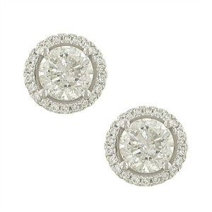 4 prong Round Diamond Er w Pave Diamond Trim 2.14ct