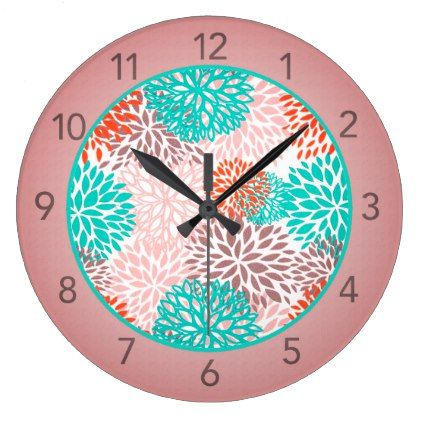 Turquoise and Orange Floral Wall Clock - decor gifts diy home & living cyo giftidea