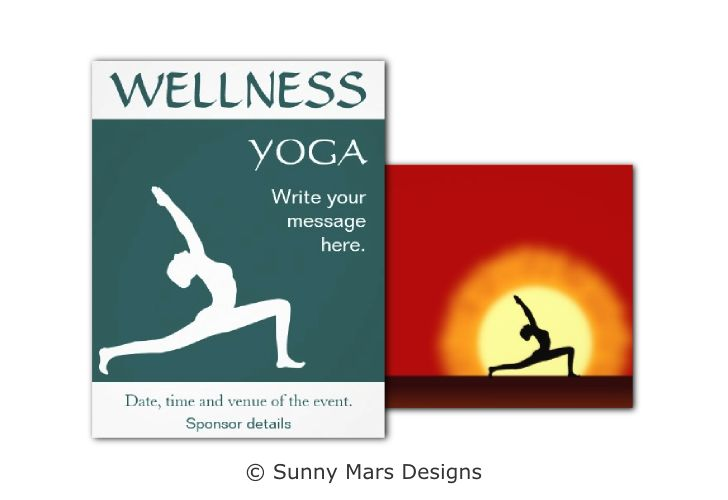 Yoga Pose Silhouette Custom Flyers Templates by sunnymars of SunnyMarsDesigns in association with Zazzle.   These templates includes the silhouette of a woman practicing yoga and are fully customizable. Move the image around, make it larger or smaller and edit the title and event details.