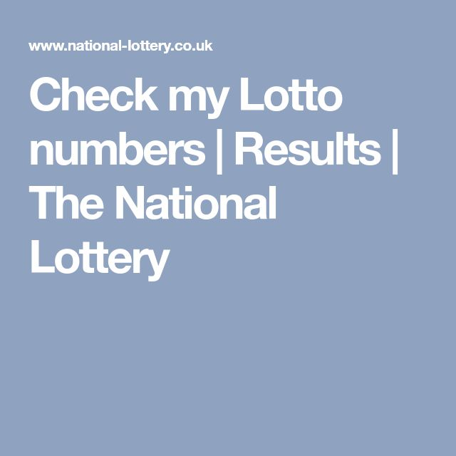 Check my Lotto numbers | Results | The National Lottery