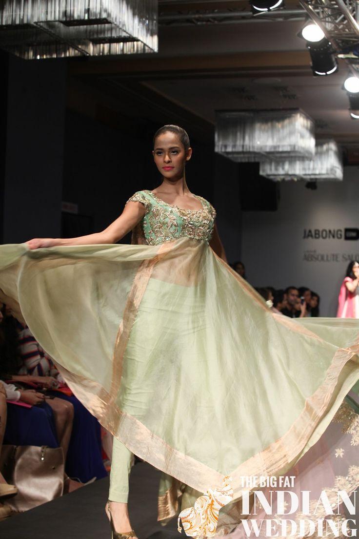 Pistachio green with gold sheer anarkali | Anushree Reddy Lakme Fashion Week