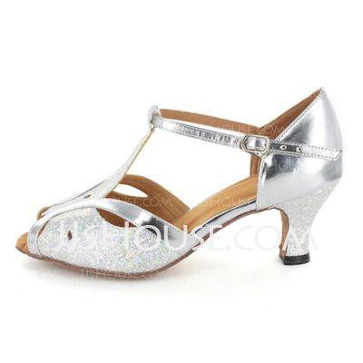 Vrouwen Sprankelende Glitter Patent Leather Hakken Sandalen Latijn Ballroom Bruiloft Partij met T-Riempjes Dansschoenen (053021494)