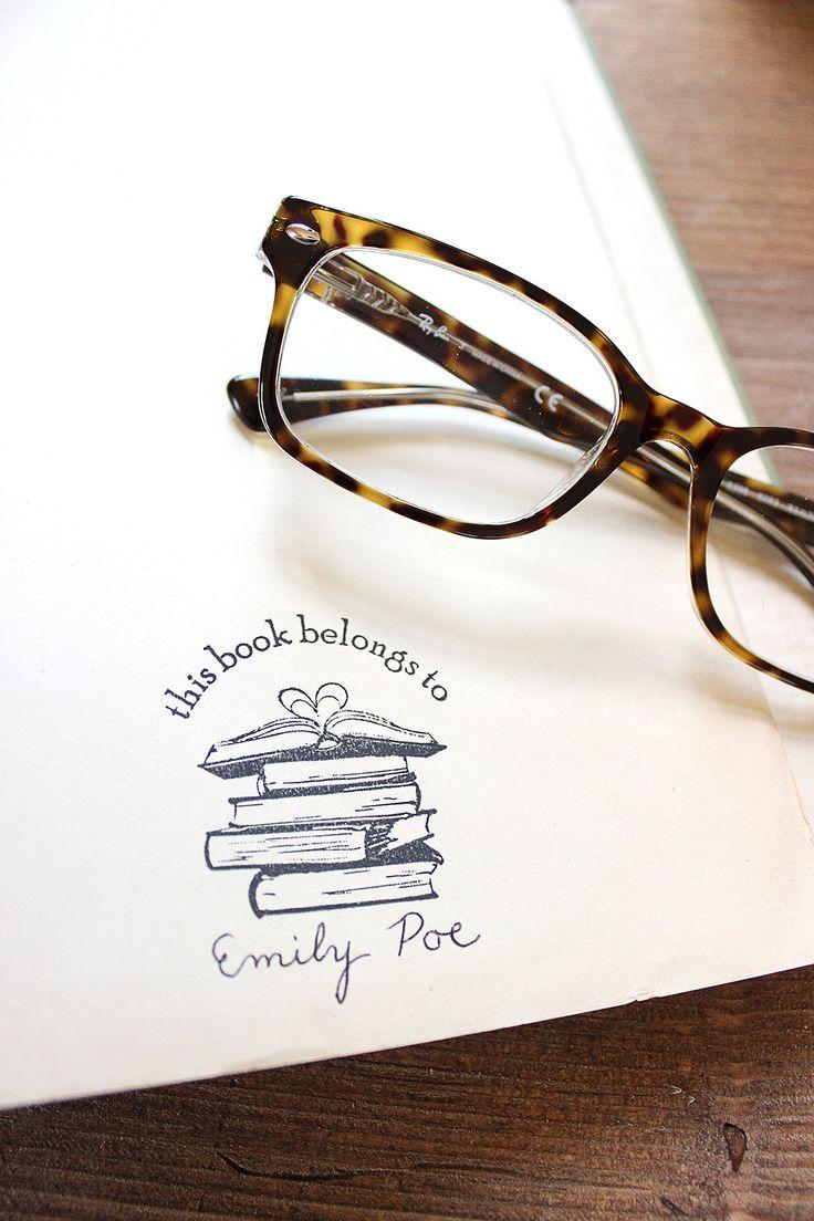 Book stack ex libris stamp
