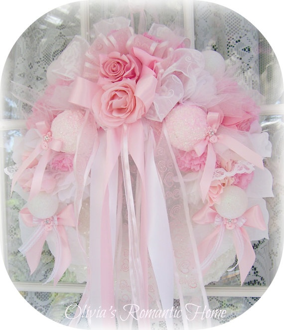 Shabby Chic Rose Pink White Princess Candy