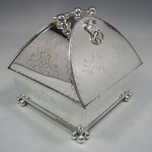 Antique Victorian, silver-plated, unusual biscuit box, with a registration mark for 1879. Length 17 cms.