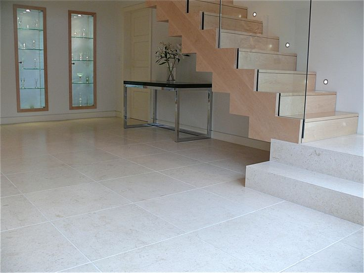 We used Jerusalem Desert Cream Limestone in large format 600 x 600 tiles in honed finish to create a spacious and light feel in the entrance lobby #limestoneflooring #Jerusalemstone #desertcream #Montpellier.co.uk