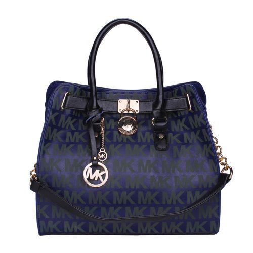 Michael Kors Hamilton Lock Signature Large Blue Totes