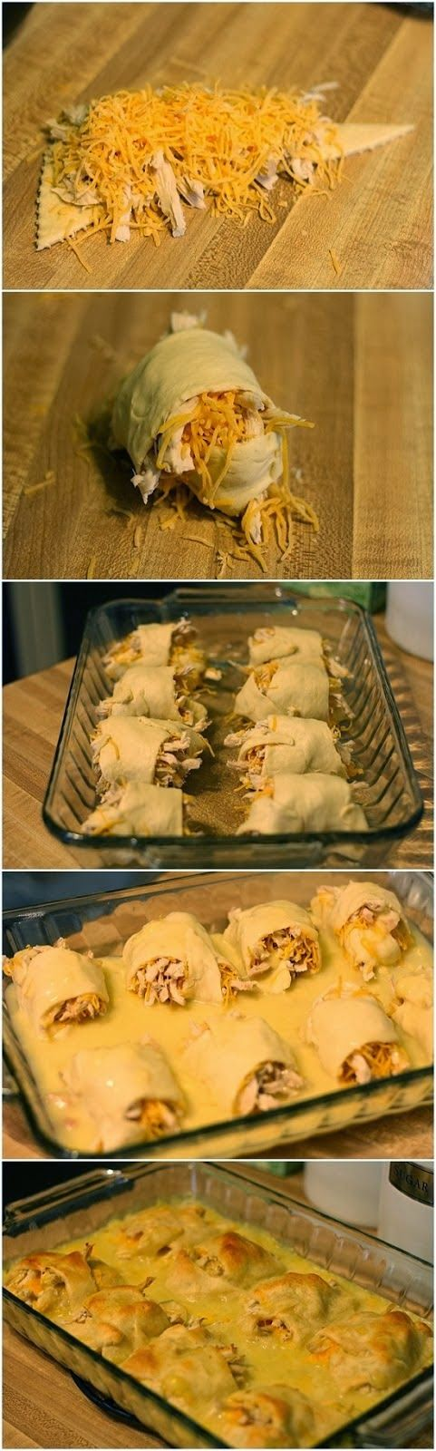 Chicken Roll Ups. Cream of chicken with herb mixed with abodo and chicken Mrs.dash for more flavor.
