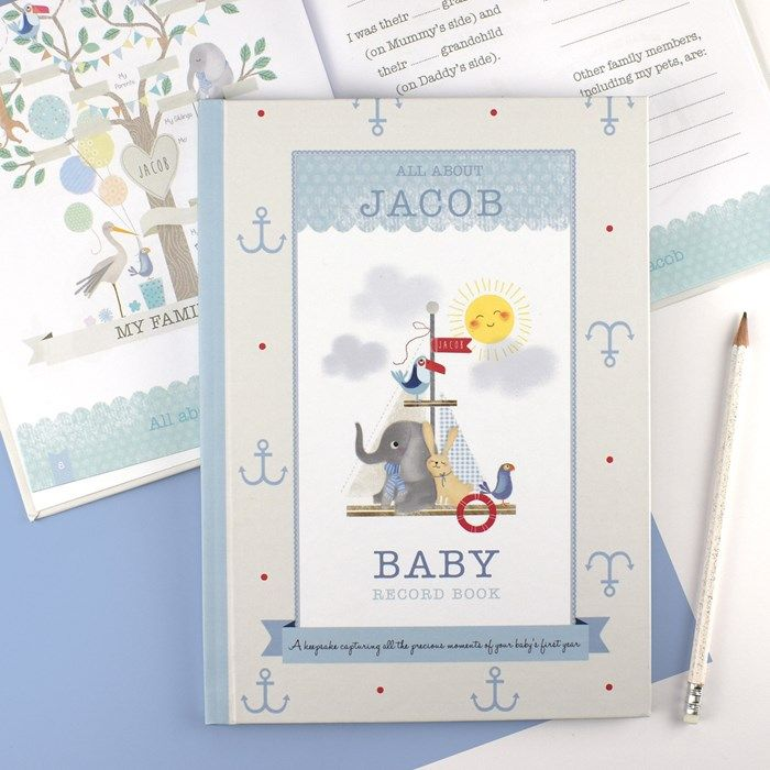 Personalised Boy's Baby Record Book | GettingPersonal.co.uk