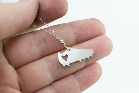 I love soccer silver shoe necklace by AbellaBlue on Etsy