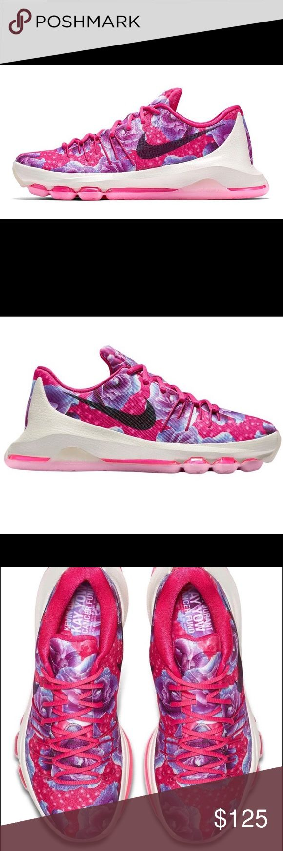 """NBW Kevin Durant: Aunt Pearl 8 - Size 7 YOUTH Every season, KD pays respect to his late Aunt Pearl with a special iteration of his signature footwear. This season's KD 8 """"Aunt Pearl"""" features a pink and blue color palette with iridescent graphics honoring the athlete's beloved aunt. Nike Shoes Sneakers"""