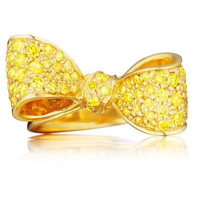 bernebt: Canary Yellow Diamond Bow Ring by Mimi...