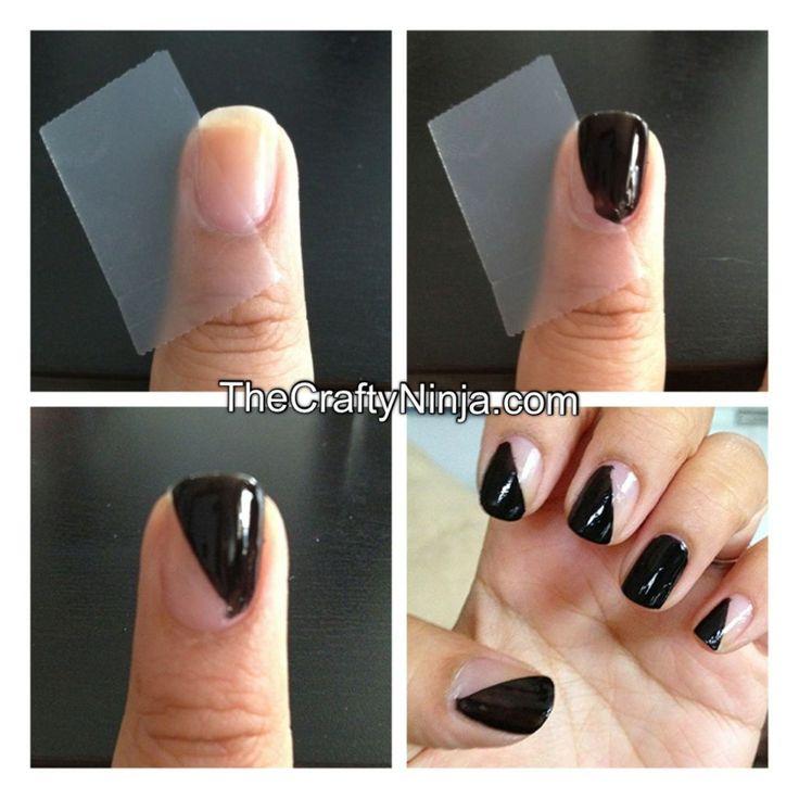 nail tape diagonal mani