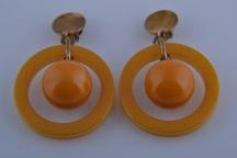Plastic Art Deco Hoop Clip On Earrings