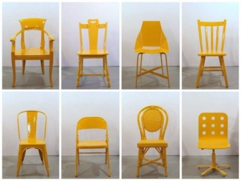 Bade Stageberg Cox collected 50 abandoned chairs on the streets of New York, repaired them and gave them a new life with a coat of taxi cab yellow paint. The bottom of each chair is stamped and documented with the date and location it was recovered. Lovely.