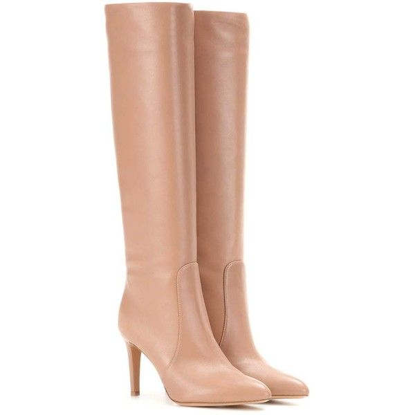 Gianvito Rossi Dana Leather Knee-High Boots (11.290 DKK) ❤ liked on Polyvore featuring shoes, boots, knee boots, neutral, leather boots, gianvito rossi boots, genuine leather boots and nude boots
