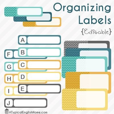 A Typical English Home: Editable Organizing Labels Printables