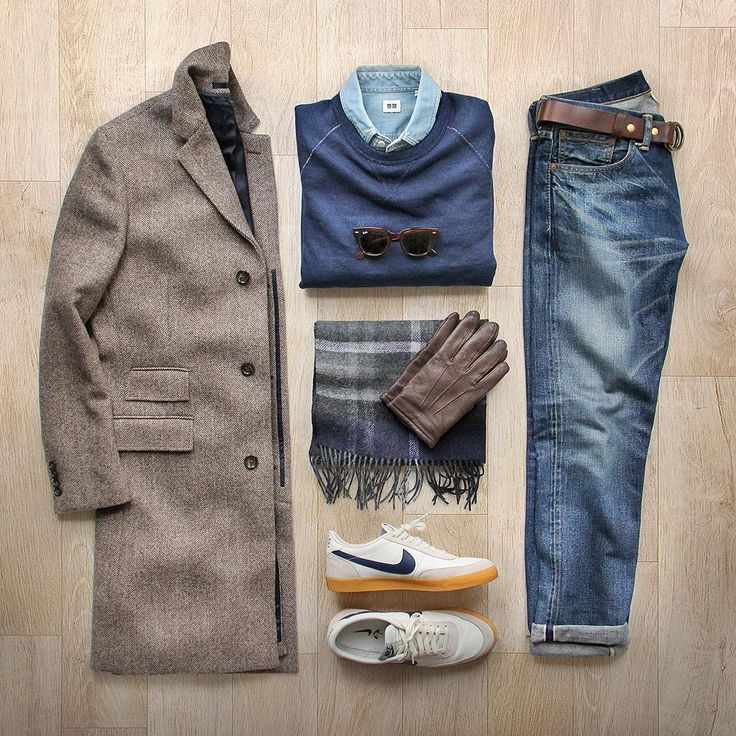 """The informal topcoat. Sweatshirt: @toddsnyderny Japanese Indigo Crew Topcoat: @jcrew Herringbone Shirt: @uniqlousa Scarf: @thetiebar Shoes: @nike for…"""