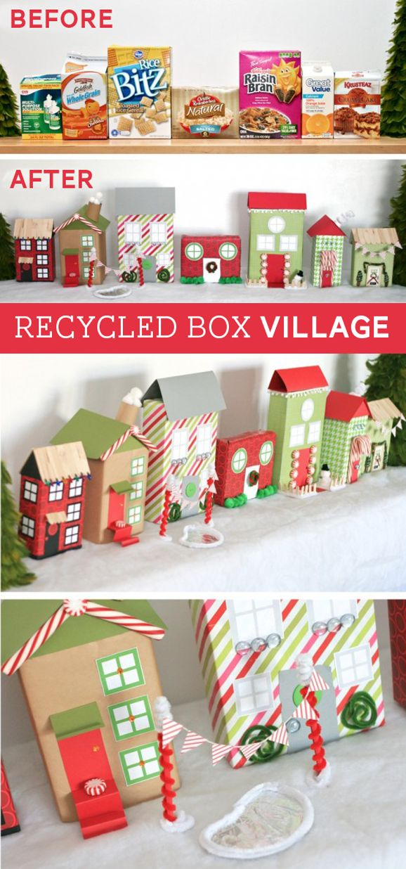 Make a Christmas Village with Recycled Boxes and wrapping paper -- free printable windows and more at PagingSupermom.com  Would be fun for kiddos