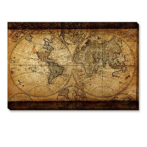Top Home Decoration Painting Sketch Old World Map Print Retro Brown Tone Wall Artwork Historical Collections Framed Ready To Hang 23.6x35.4x1.6 inch