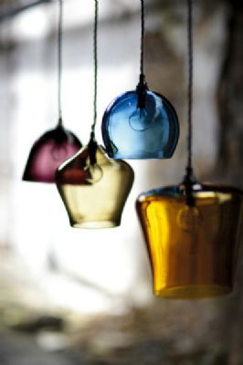 Like the idea of maybe 3 different pendants over breakfast bar?? Hand Blown Glass Pendant Lighting - Curiousa Curiousa