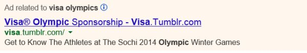 Visa promoting Tumblr on paid search