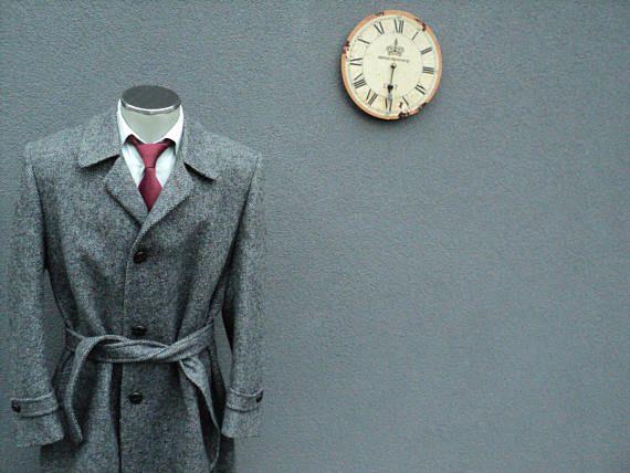 Vintage Tweed Overcoat / Gray Tweed Long Coat / Full Length