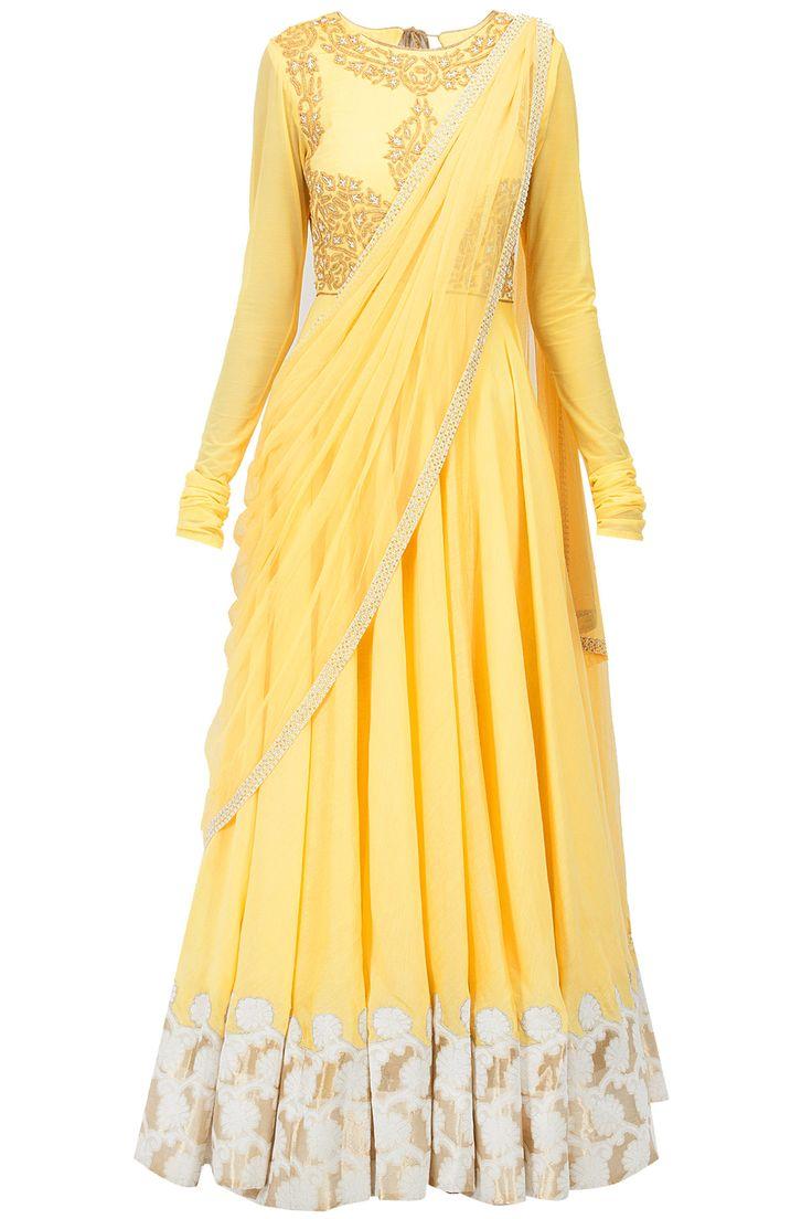 Yellow dori and pearl embroidered kurta set BY J BU JANNAT. Shop the designer now at www.perniaspopups... #perniaspopupshop #jbyjannat #anarkalis #ethnic #designer #stunning #fashion #amazing #fabulous #indian #musthave #happyshopping