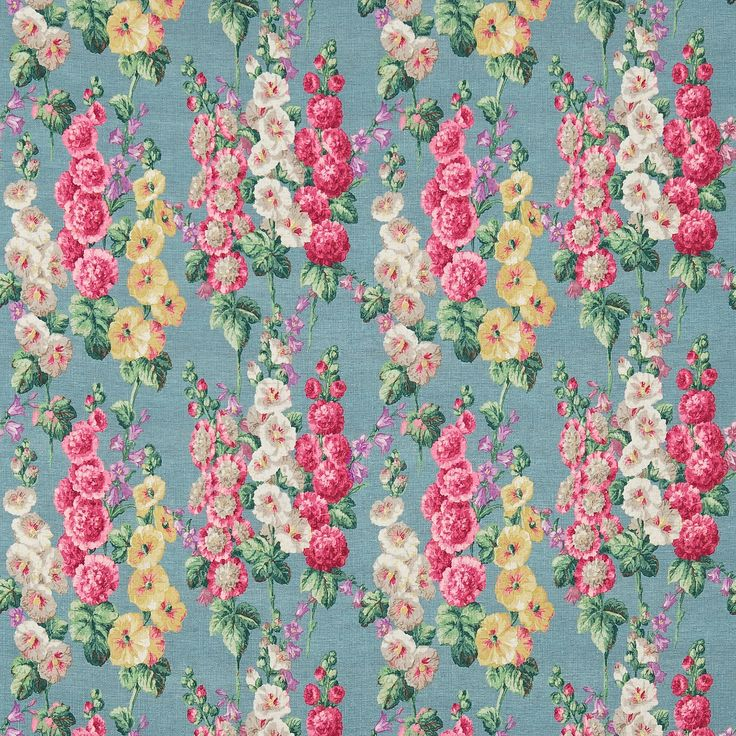 Sanderson - Traditional to contemporary, high quality designer fabrics and wallpapers | Products | British/UK Fabric and Wallpapers | Hollyhocks (DVIN224307) | Vintage Prints 2