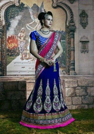 Fabulous Velvet Blue And Pink Lehenga