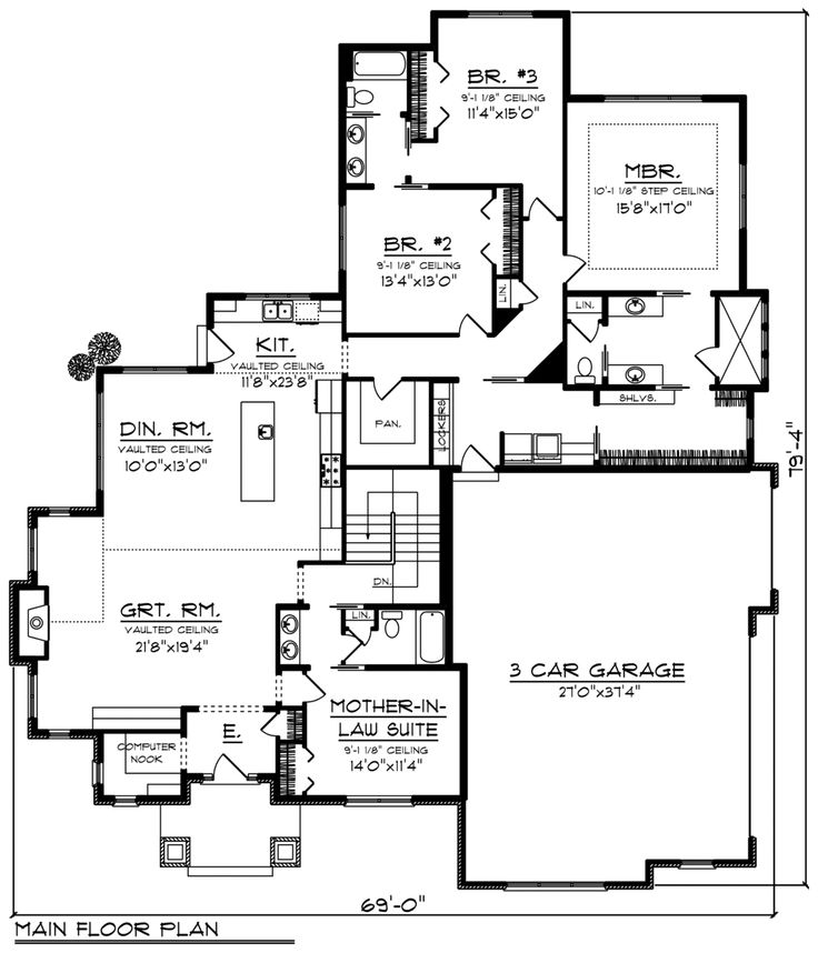 Ranch House Plan 96163 Level One
