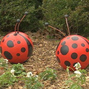 bowling ball ladybug yard art